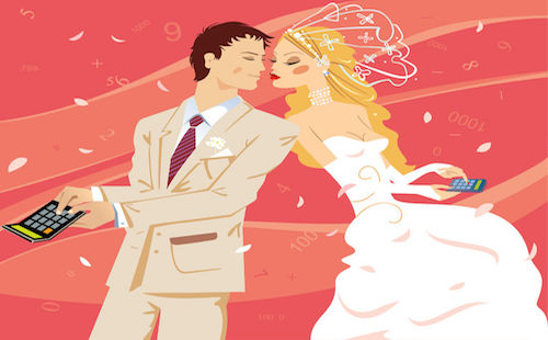 71702322 - wedding by calculation. vector illustration.